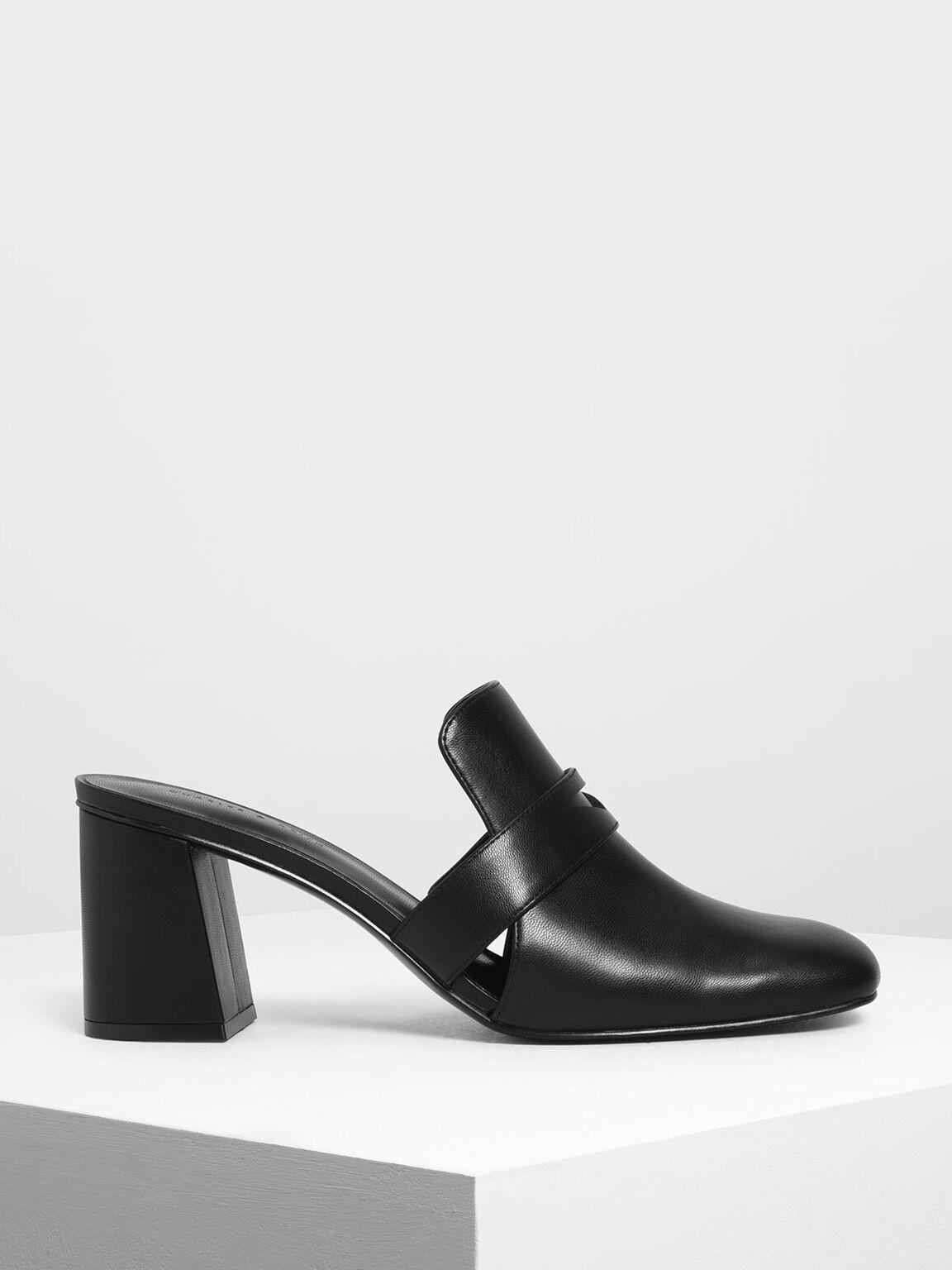 Block Heel Penny Loafers, Black, hi-res
