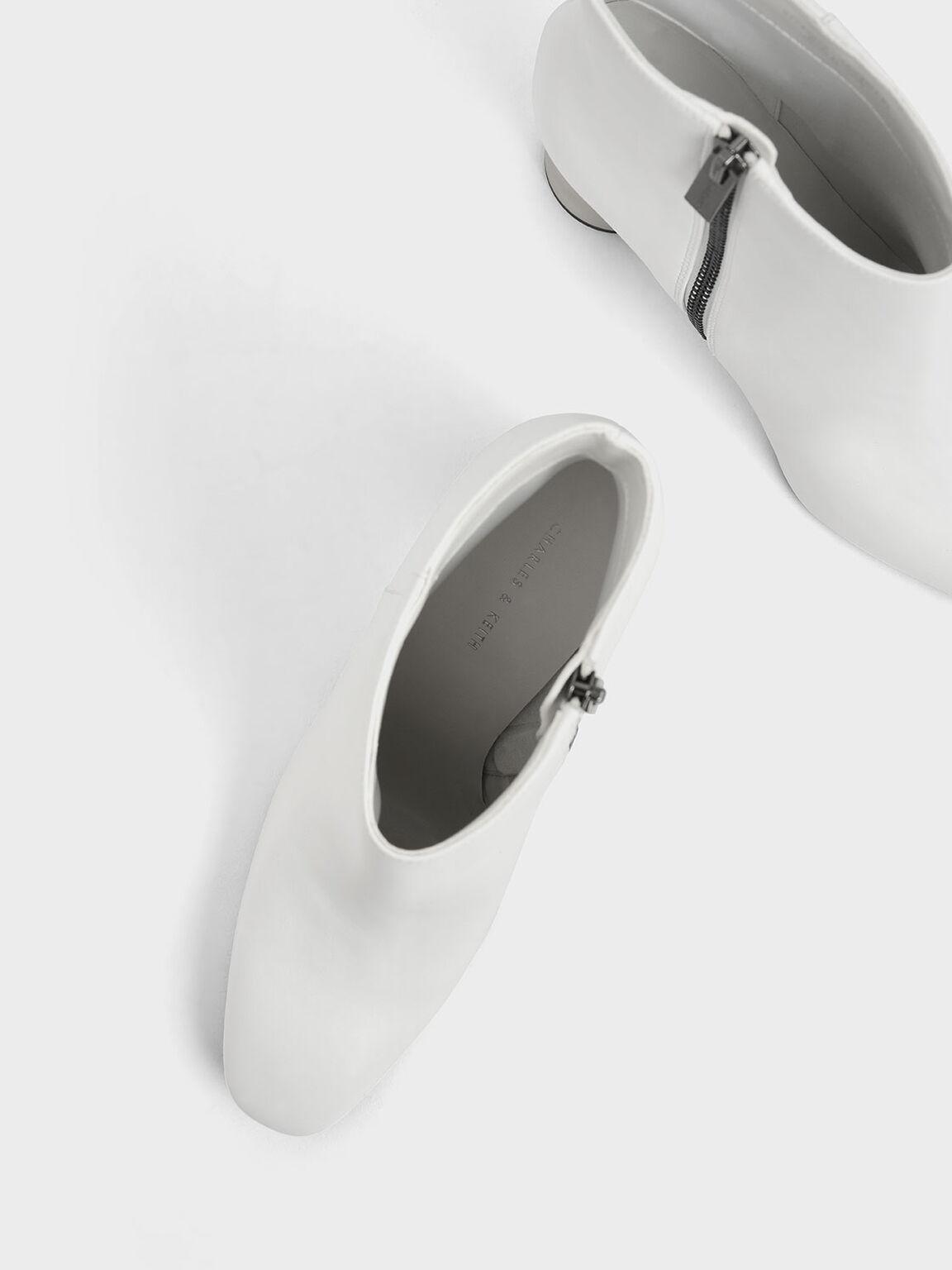 Concrete Heel Ankle Boots, White, hi-res