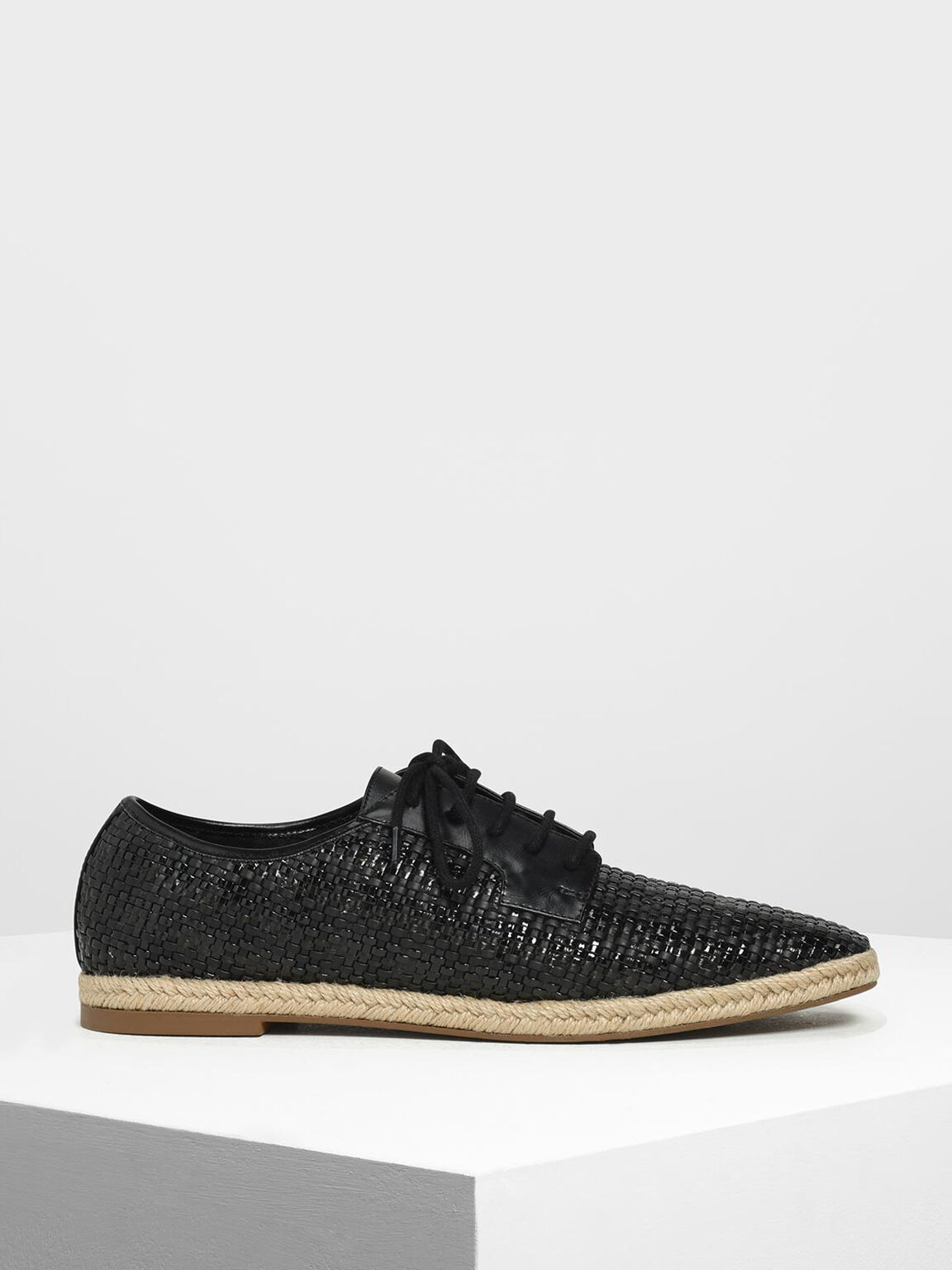 Raffia Derby Shoes, Black, hi-res