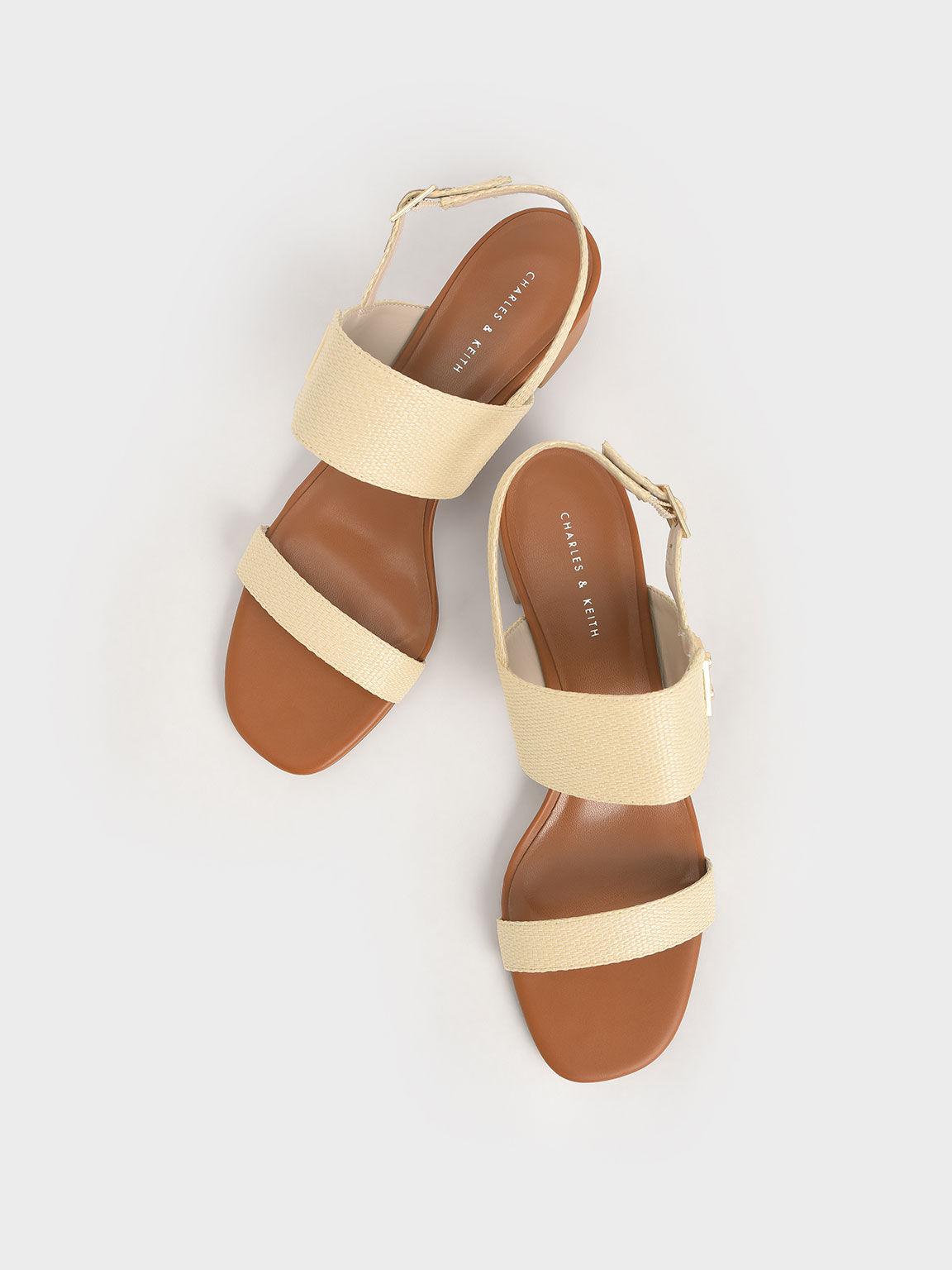 Raffia Buckle Strap Sandals, Sand, hi-res