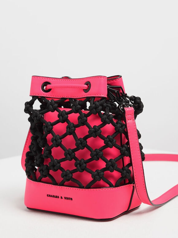 Knotted Drawstring Bucket Bag, Multi, hi-res