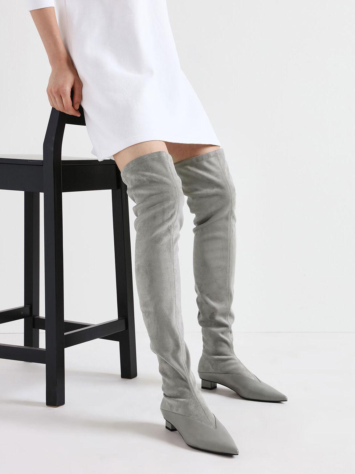 Thigh High Low Block Heel Sock Boots, Grey, hi-res