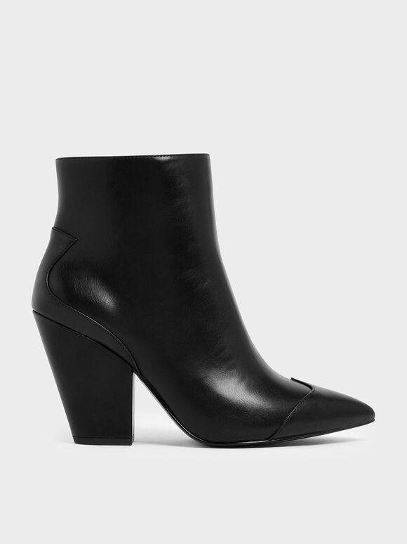 Zip-Up Chunky Heel Ankle Boots, Black, hi-res