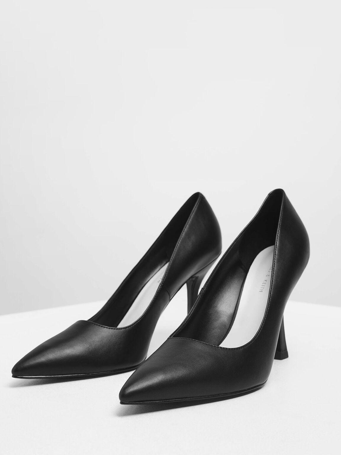 Curved Stiletto Heel Pumps, Black, hi-res