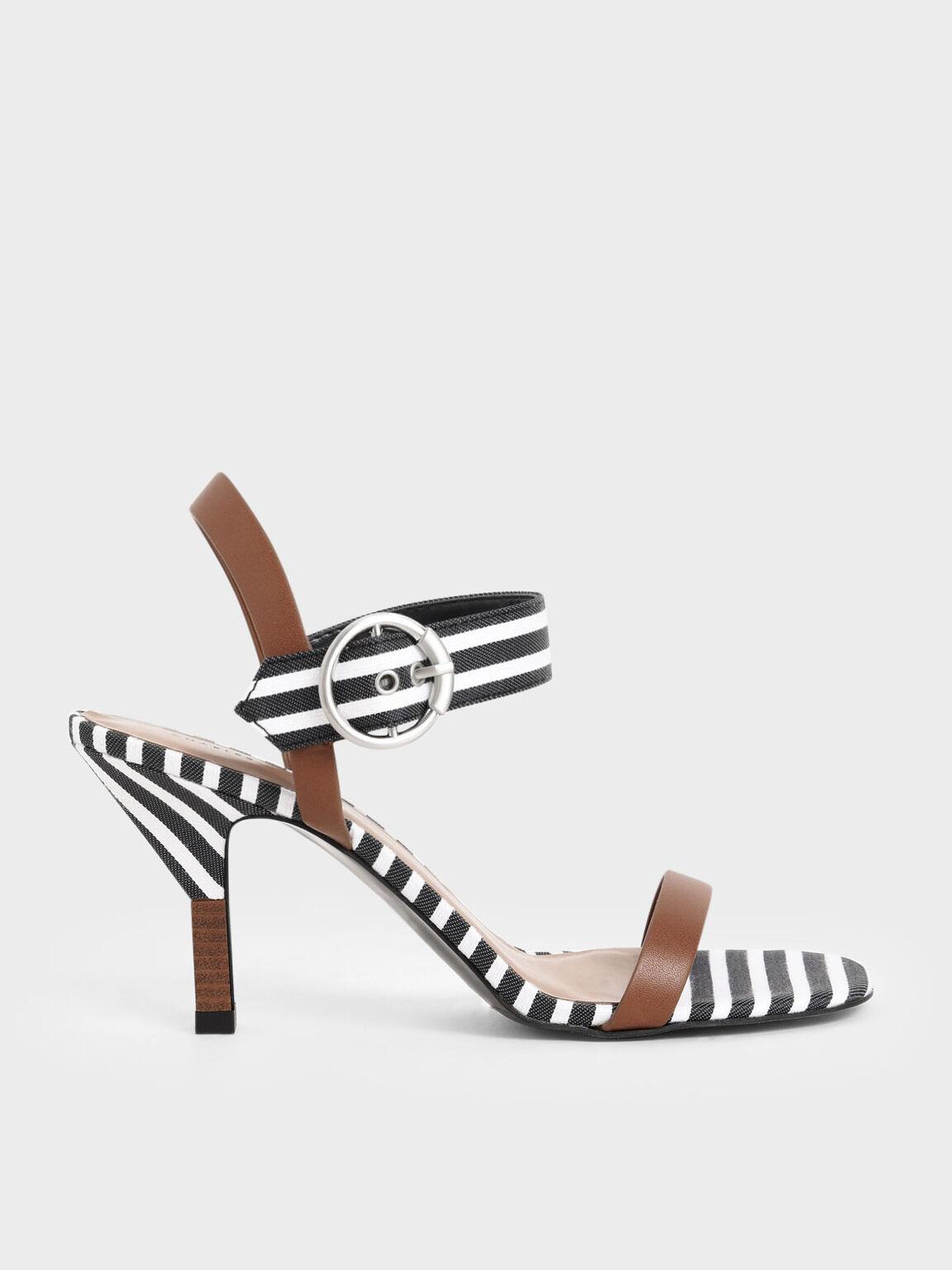 Oversized Buckle Striped Heeled Sandals, Dark Blue, hi-res