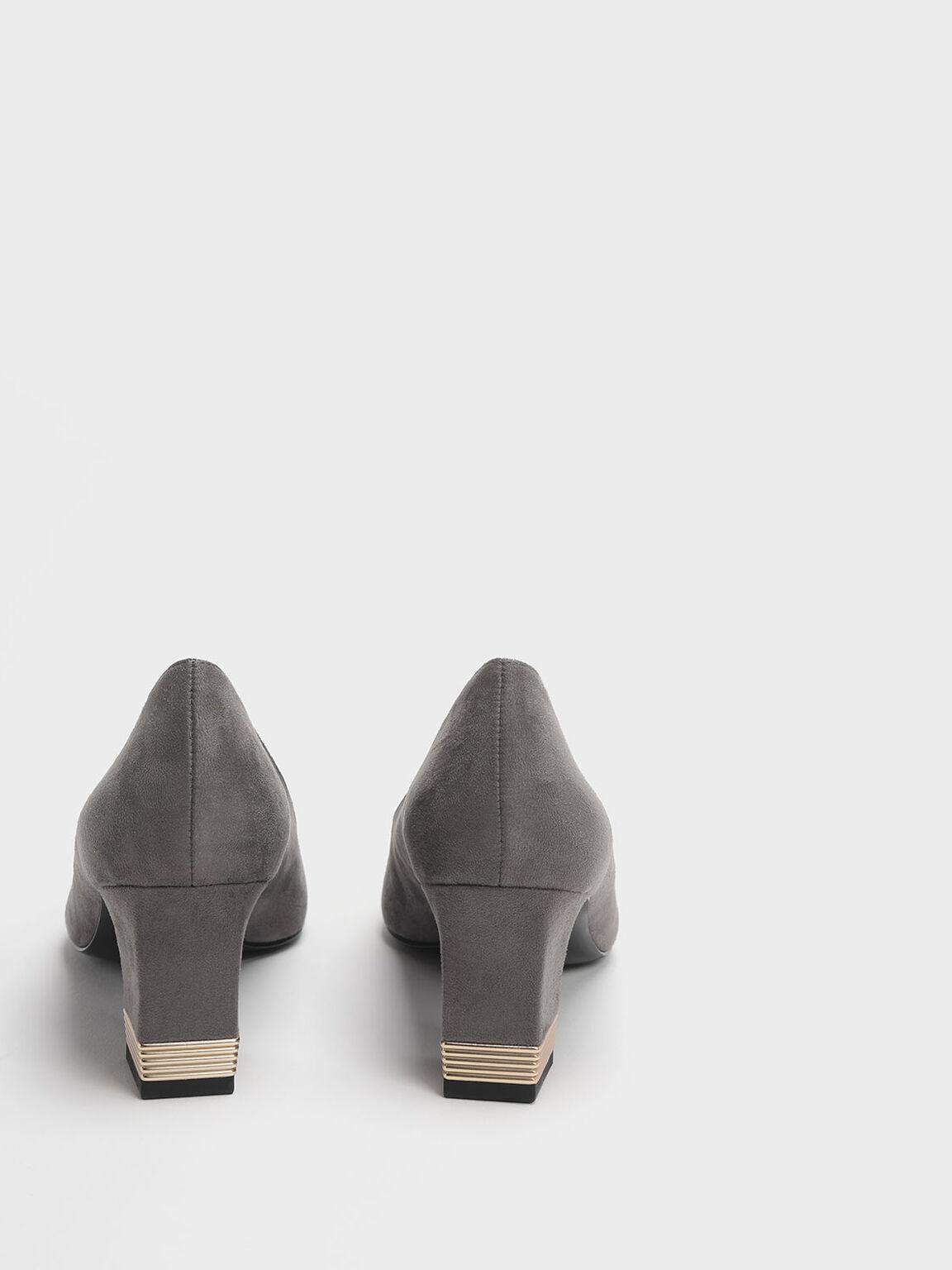 Metallic Accent Heel Pumps, Grey, hi-res