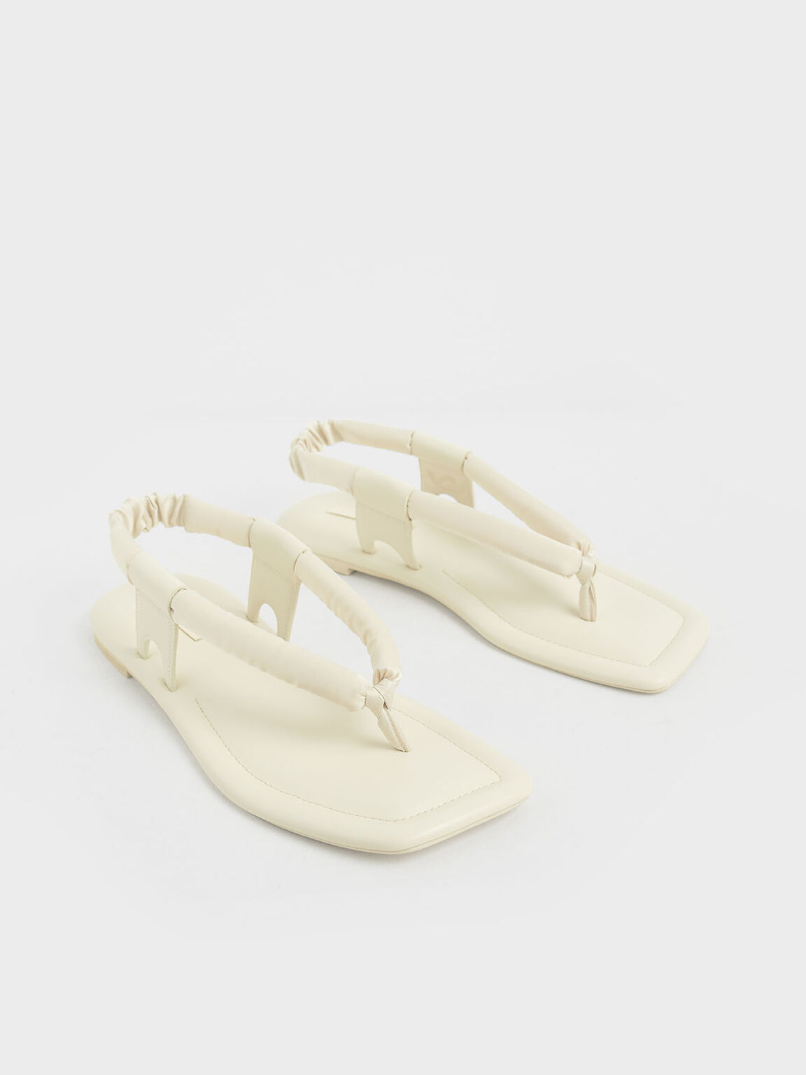 Puffy Strap Thong Sandals, Cream, hi-res