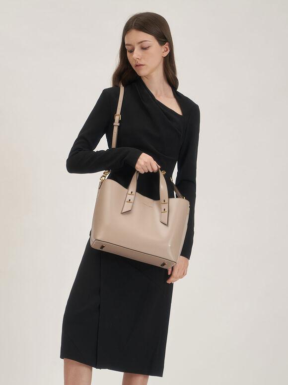 Double Handle Hobo Bag, Sand, hi-res