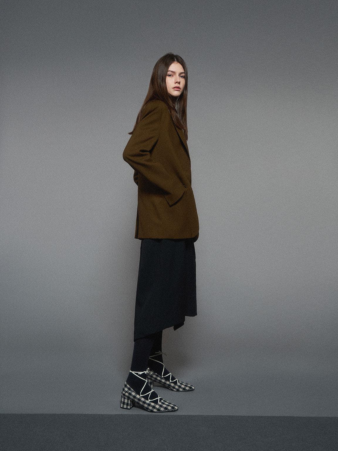 Woven Gingham Ankle Tie Pumps, Black, hi-res