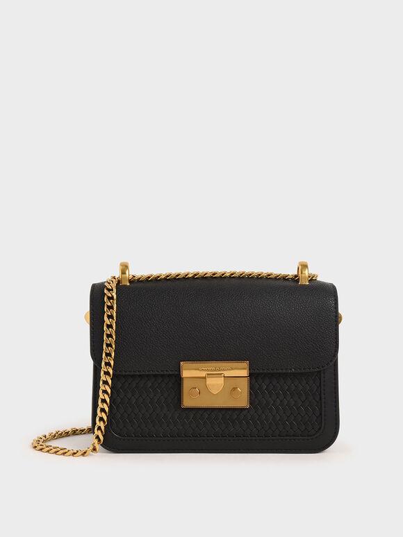 Textured Metallic Push-Lock Crossbody Bag, Black, hi-res