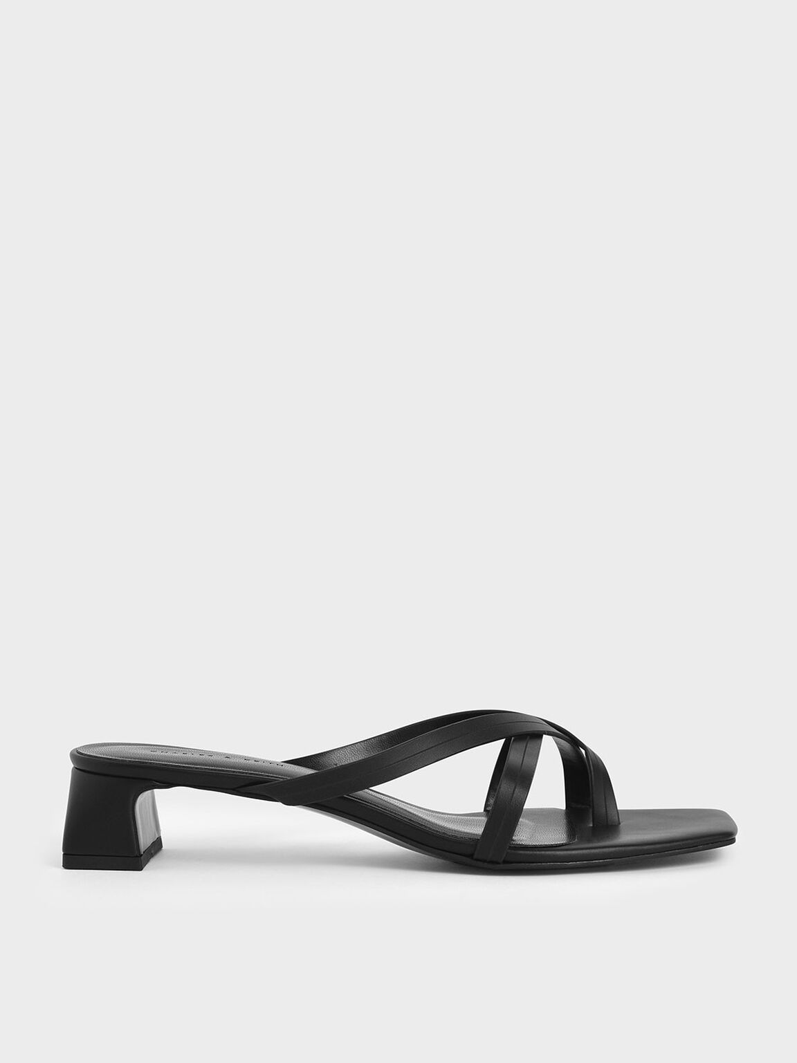 Strappy Toe Loop Heeled Sandals, Black, hi-res
