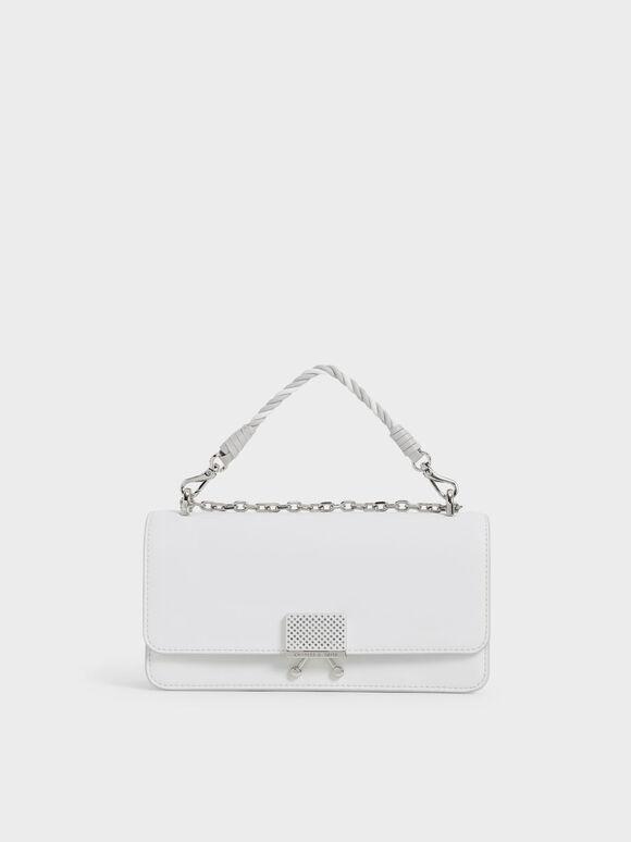 Twist Top Handle Long Wallet, White, hi-res