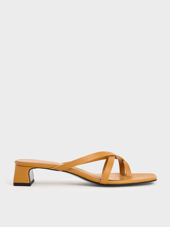 Strappy Toe Loop Heeled Sandals, Mustard, hi-res