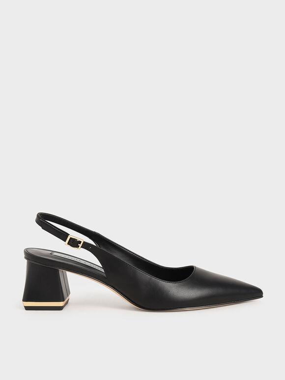 Metallic Accent Slingback Court Shoes, Black, hi-res