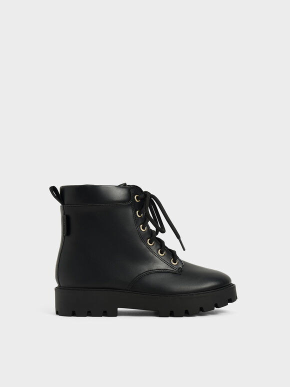 Girls' Lace-Up Ankle Boots, Black, hi-res