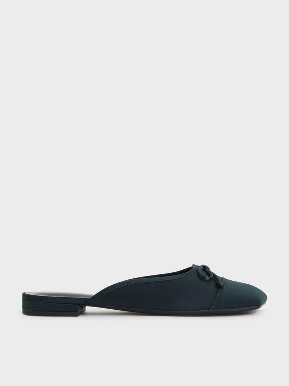 Bow-Tie Flat Mules, Dark Green, hi-res