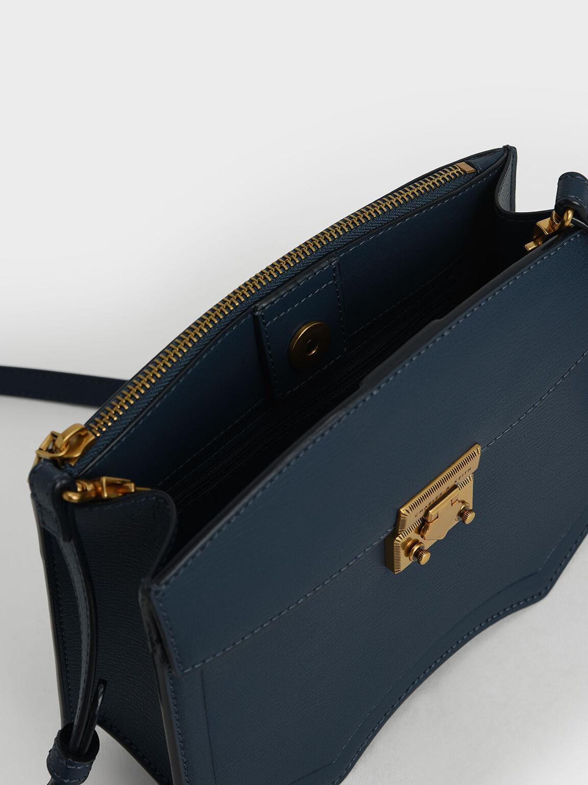 Sculptural Crossbody Bag, Blue, hi-res
