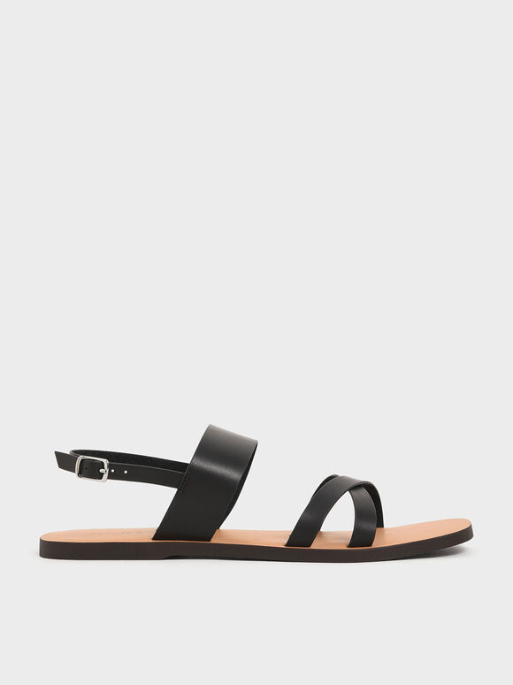 Thick Strap Flats, Black, hi-res