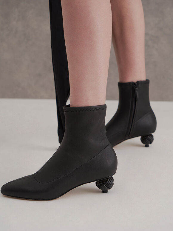 Leather Sculptural Heel Ankle Boots, Black, hi-res
