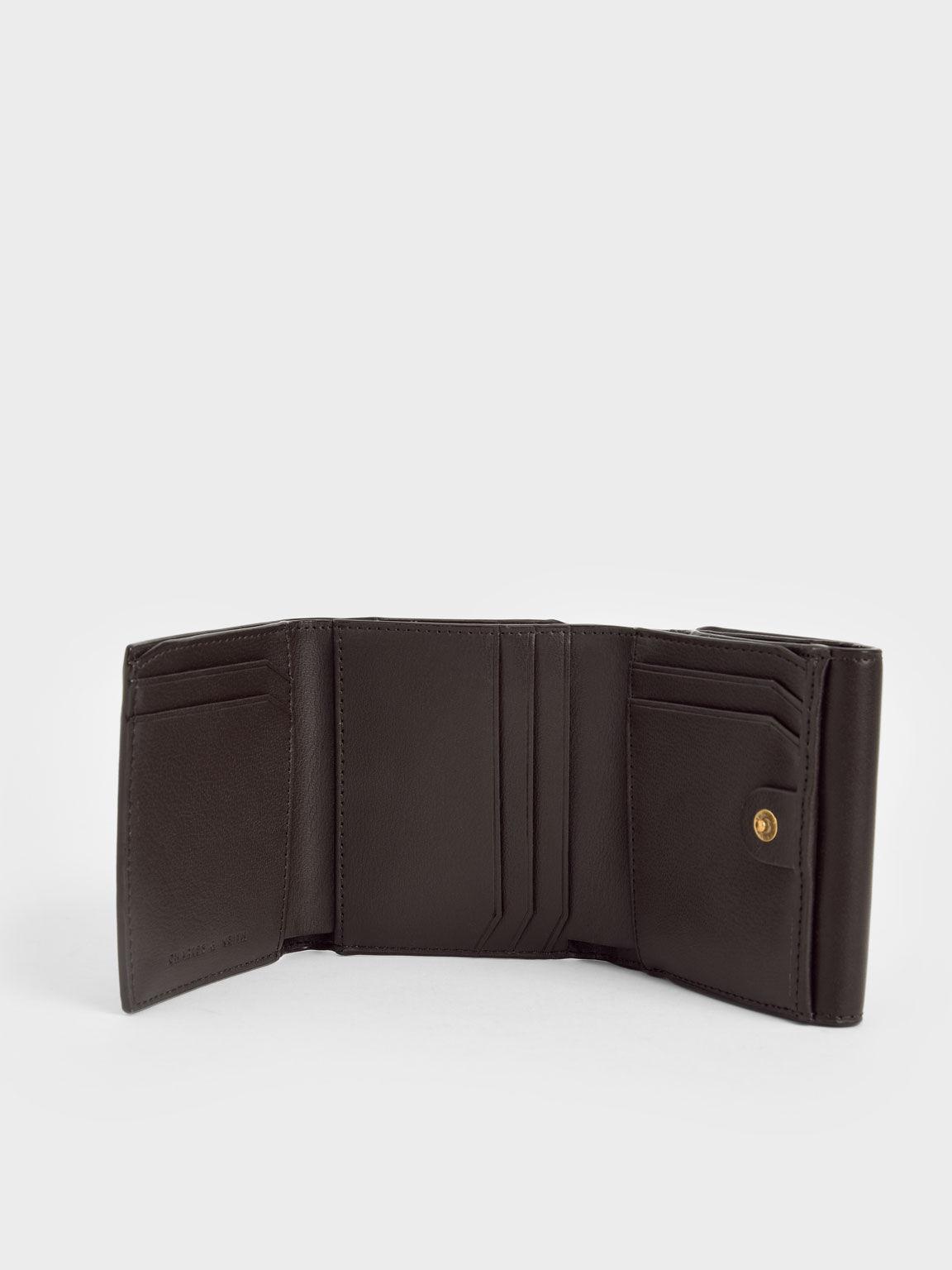 Metallic Turn-Lock Short Wallet, Dark Oak, hi-res