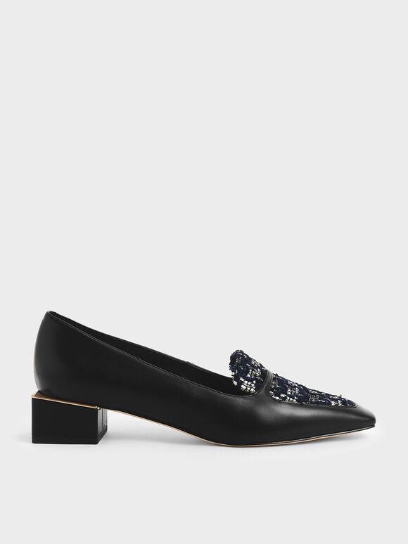 Tweed Block Heel Loafers, Dark Blue, hi-res