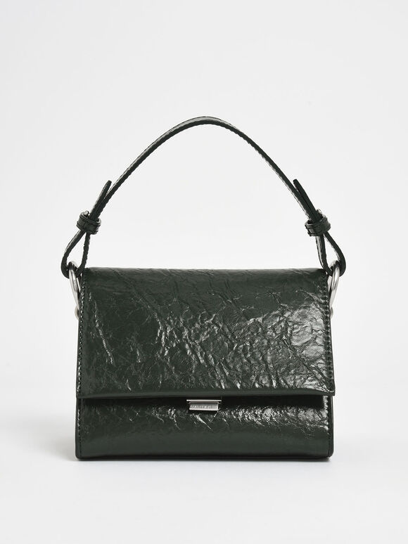 Wrinkled Effect Push Lock Handbag, Dark Green, hi-res