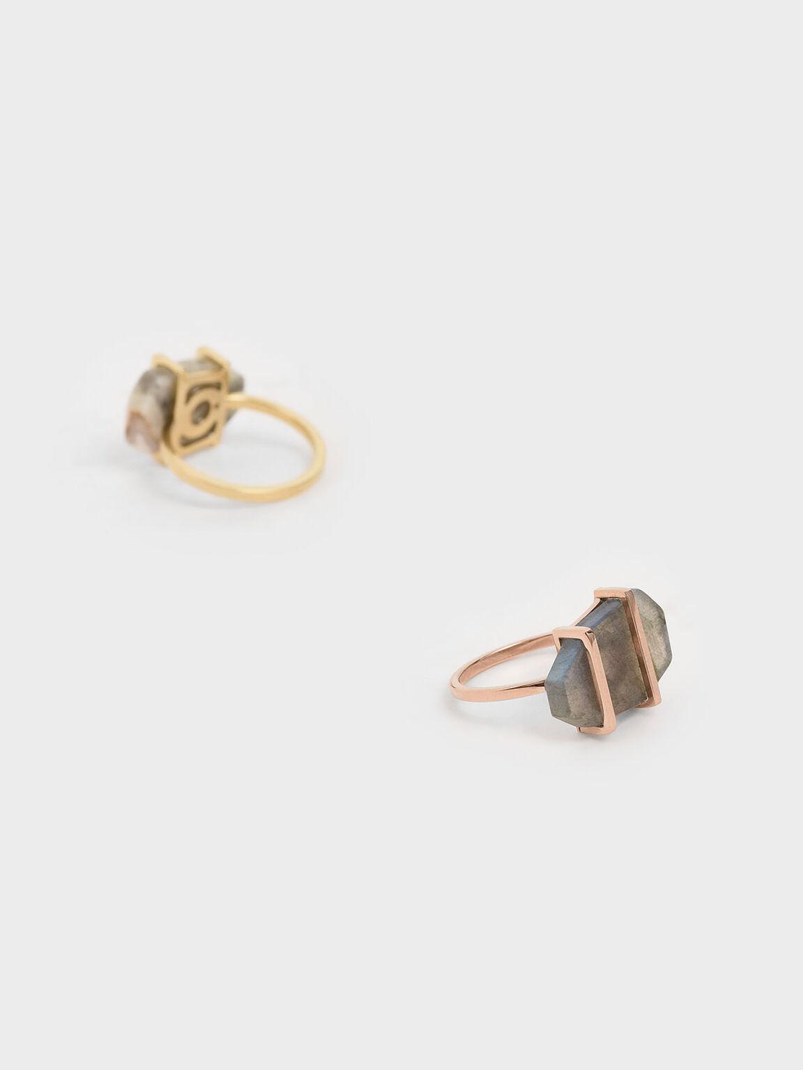 Labradorite Stone Ring, Rose Gold, hi-res
