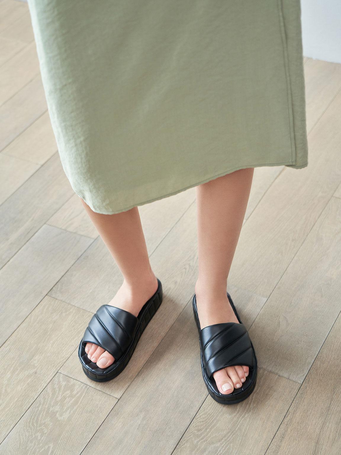 Puffy Flatform Slide Sandals, Black, hi-res