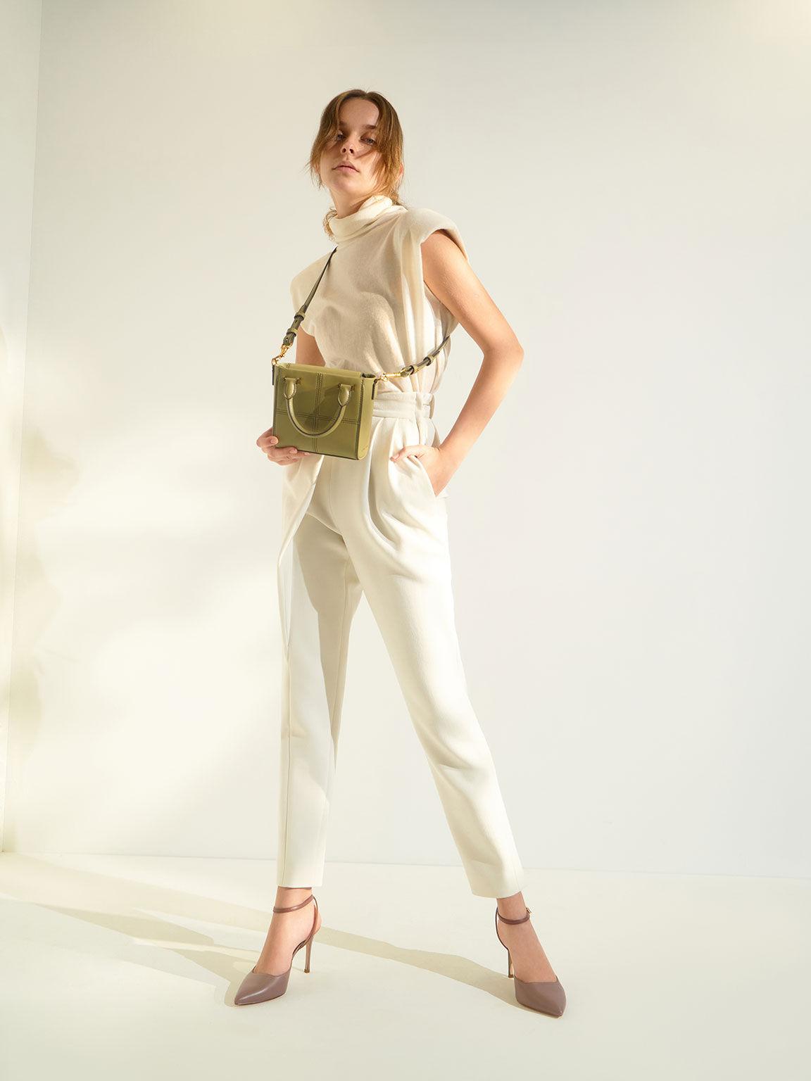 Textured Panelled Top Handle Bag, Khaki, hi-res