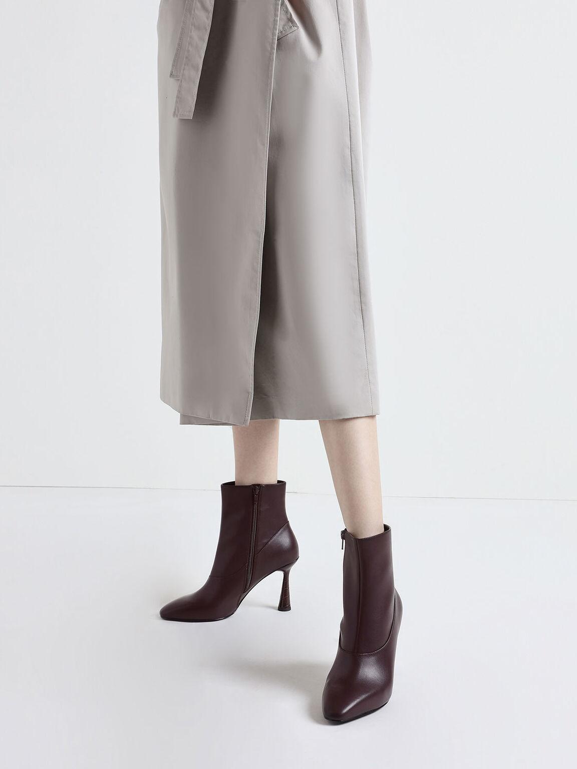 Croc-Effect Sculptural Heel Ankle Boots, Burgundy, hi-res
