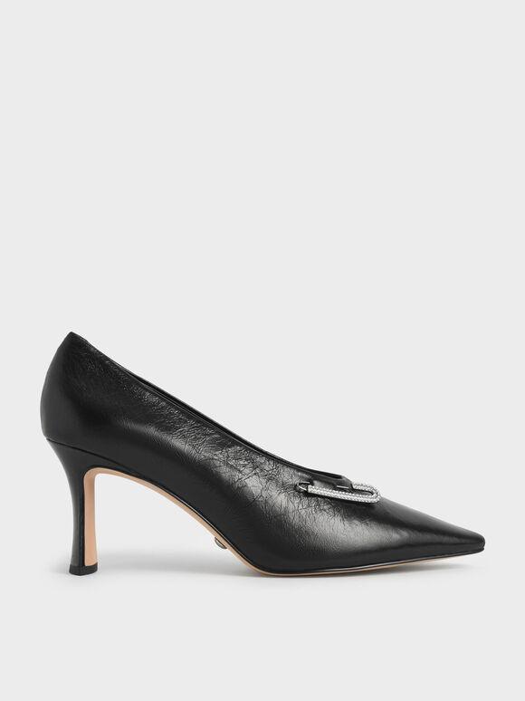 Gem-Embellished Leather Court Shoes, Black, hi-res