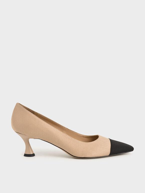 Textured Toe Cap Court Shoes, Nude, hi-res