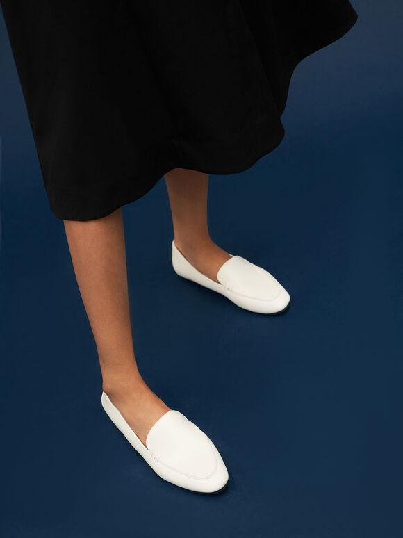 Loafer Flats, White, hi-res
