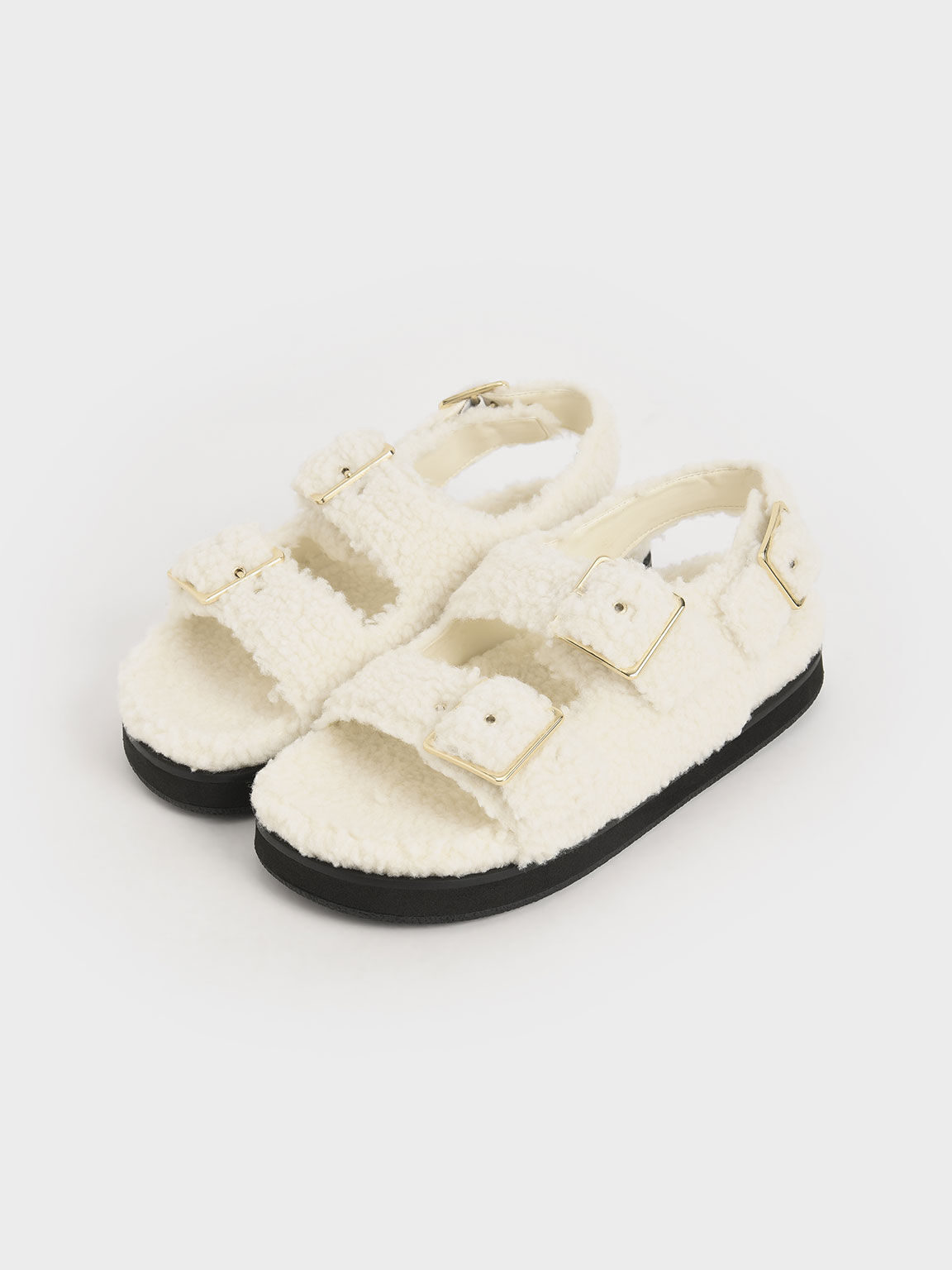 Recycled PET - Furry Platform Sandals, Chalk, hi-res