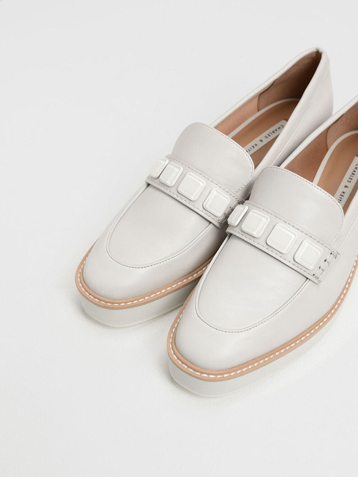 Embellished Flatform Loafers, Chalk, hi-res
