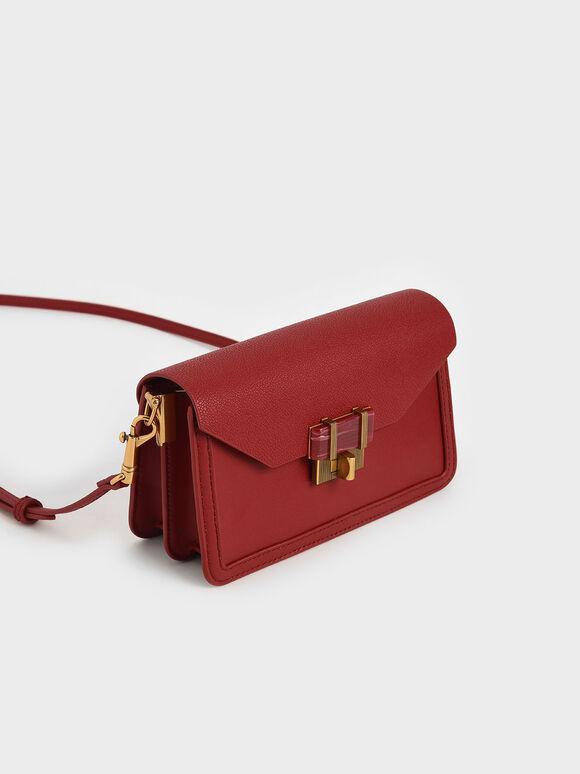 Stone-Embellished Envelope Bag, Red, hi-res