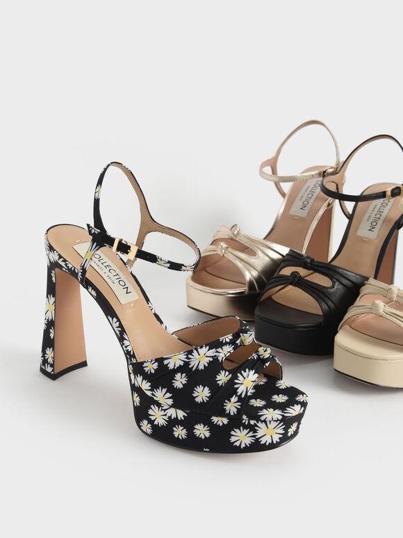 Knot Detail Daisy Print Platform Sandals, Black Textured, hi-res