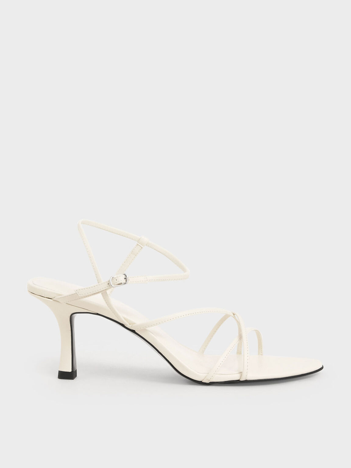 Strappy Sculptural Heel Sandals, Chalk, hi-res