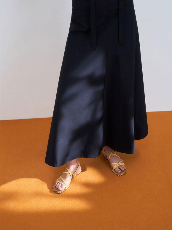 Whipstitch Trim Strappy Sandals, Yellow, hi-res