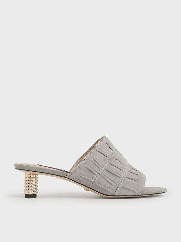 Embellished Heel Ruched Mules (Kid Suede), Sage Green, hi-res