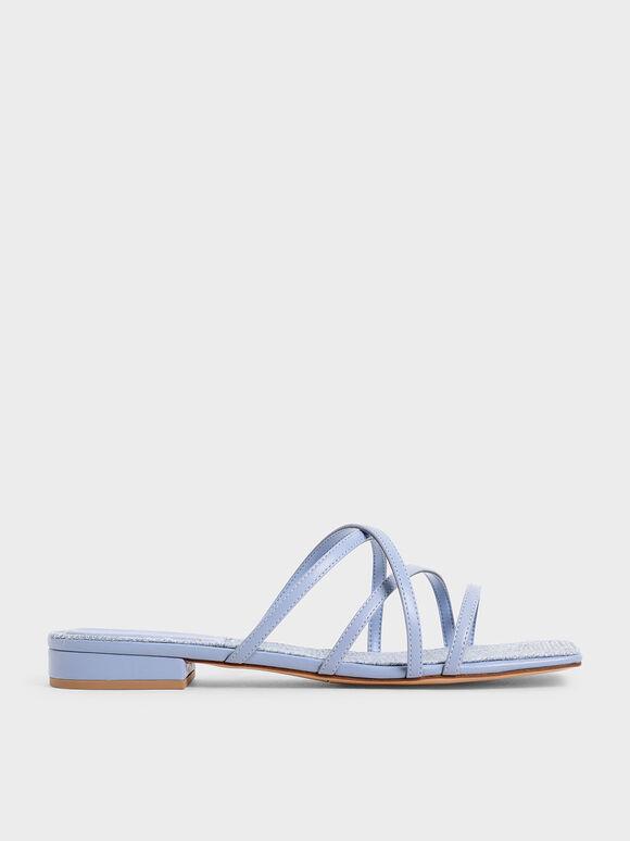Strappy Square Toe Sandals, Blue, hi-res
