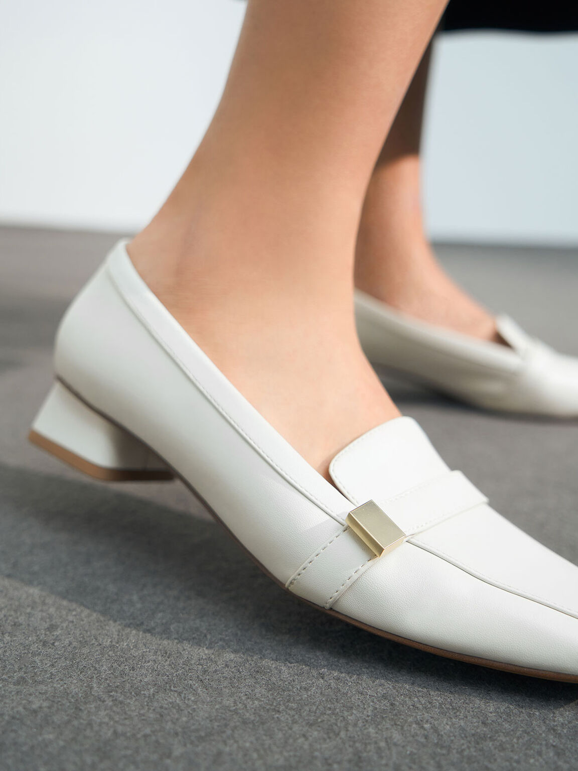Square Toe Penny Loafers, Chalk, hi-res