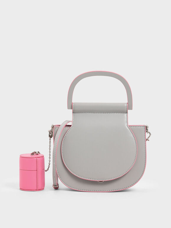 Mini Top Handle Saddle Bag, Grey, hi-res