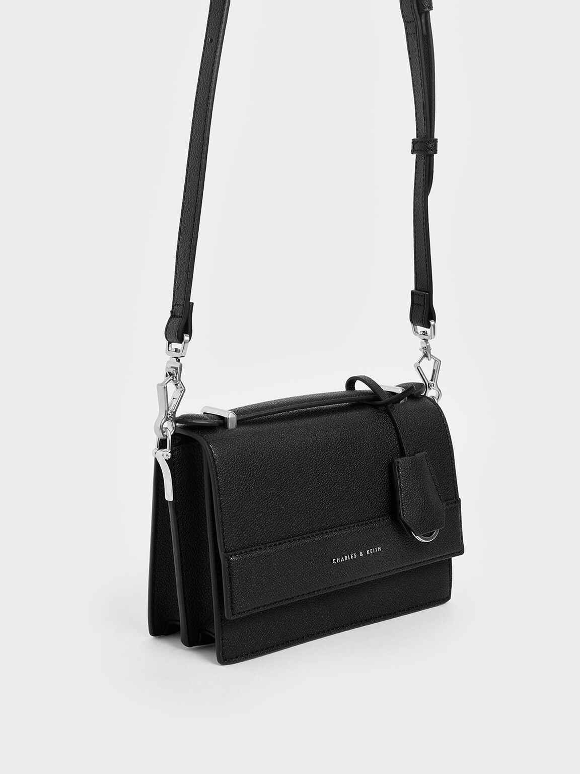 Front Flap Top Handle Bag, Black, hi-res