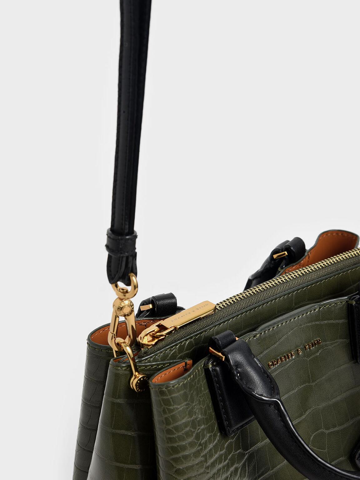 Croc-Effect Structured Bag, Olive, hi-res