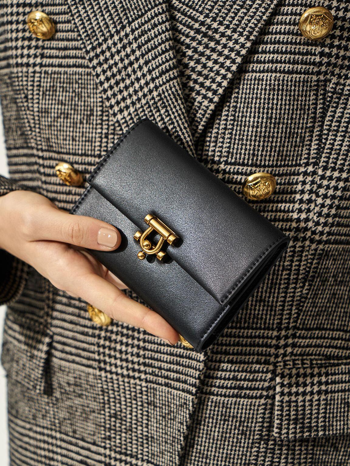 Metal Accent Mini Short Wallet, Black, hi-res