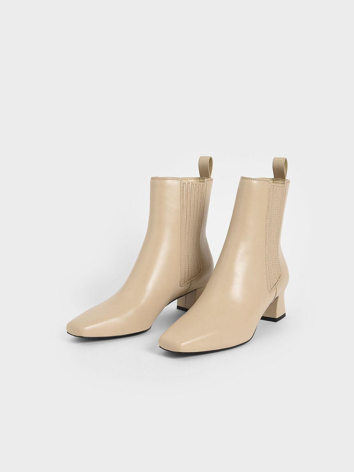Stitch Trim Ankle Boots, Beige, hi-res