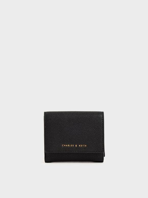 Mini Snap-Button Small Wallet, Black, hi-res
