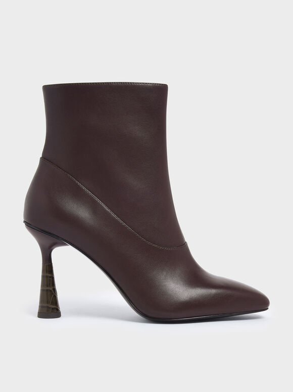 Croc-Effect Sculptural Heel Ankle Boots, Burgundy, hi-res