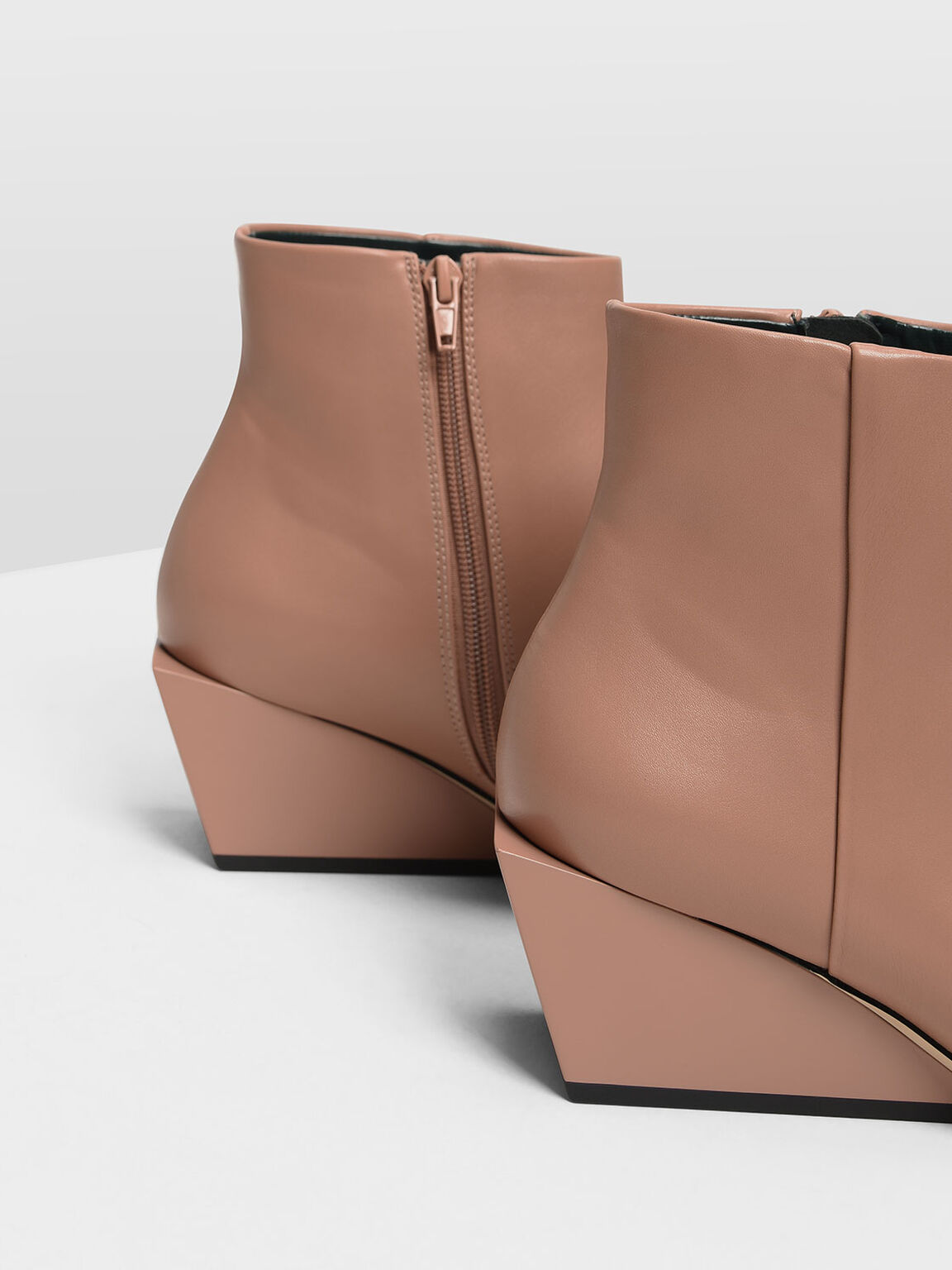Square Toe Wedge Boots, Nude, hi-res